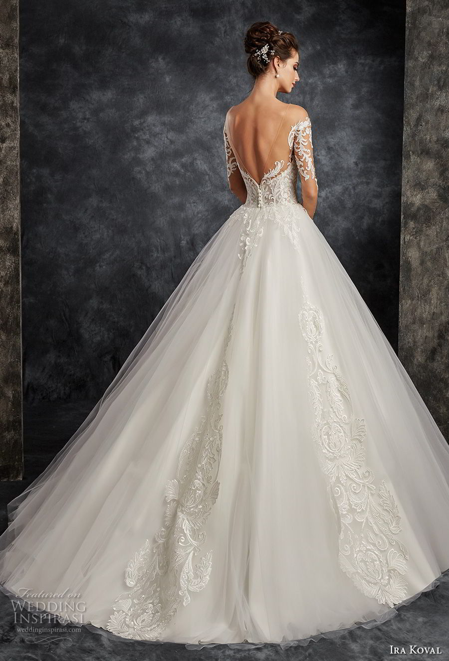 ira koval 2017 bridal long sleeves off the shoulder sweetheart neckline heavily embellished bodice elegant romantic ball gown a line wedding dress open back sweep train (616) bv