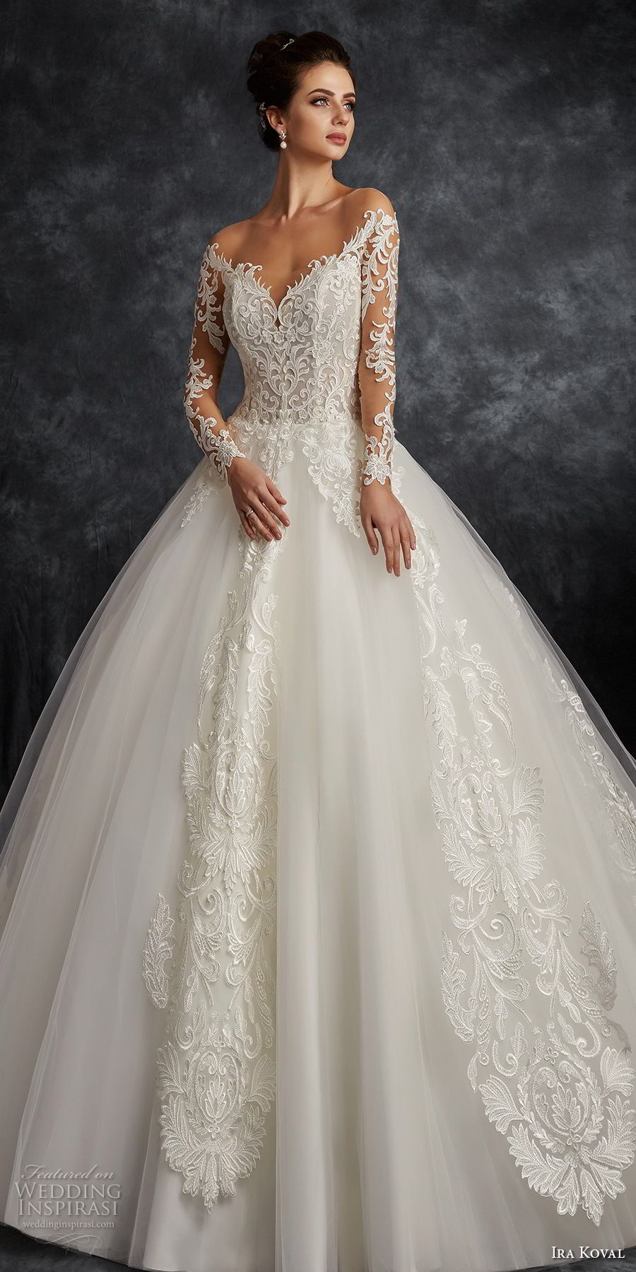 ira koval 2017 bridal long sleeves off the shoulder sweetheart neckline heavily embellished bodice elegant romantic ball gown a line wedding dress open back sweep train (616) mv fv