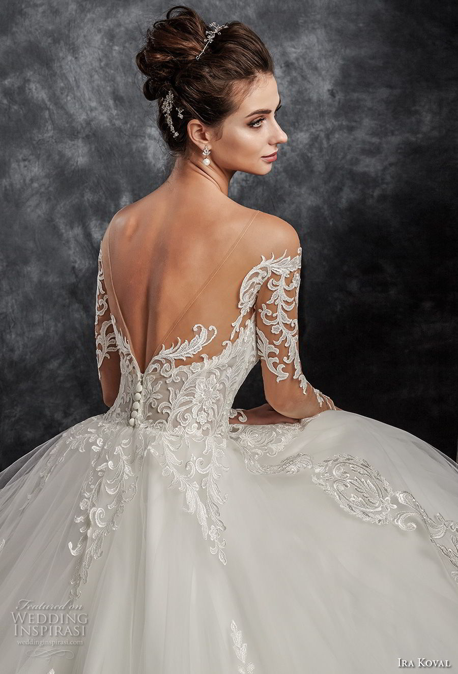 ira koval 2017 bridal long sleeves off the shoulder sweetheart neckline heavily embellished bodice elegant romantic ball gown a line wedding dress open back sweep train (616) zbv