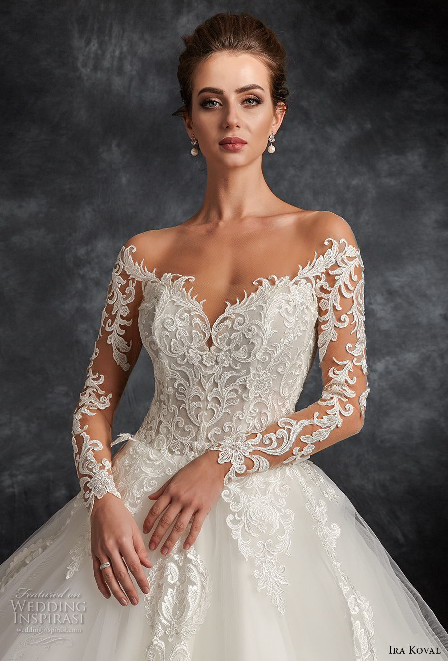 ira koval 2017 bridal long sleeves off the shoulder sweetheart neckline heavily embellished bodice elegant romantic ball gown a line wedding dress open back sweep train (616) zv