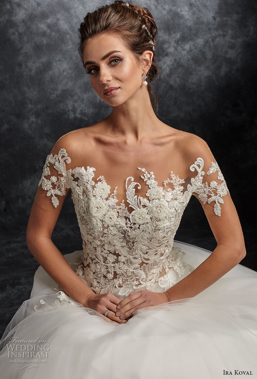 ira koval 2017 bridal short sleeves off shoulder sweetheart neckline heavily embellished bodice romantic ball gown a line wedding dress sheer button back chapel train (631) zv