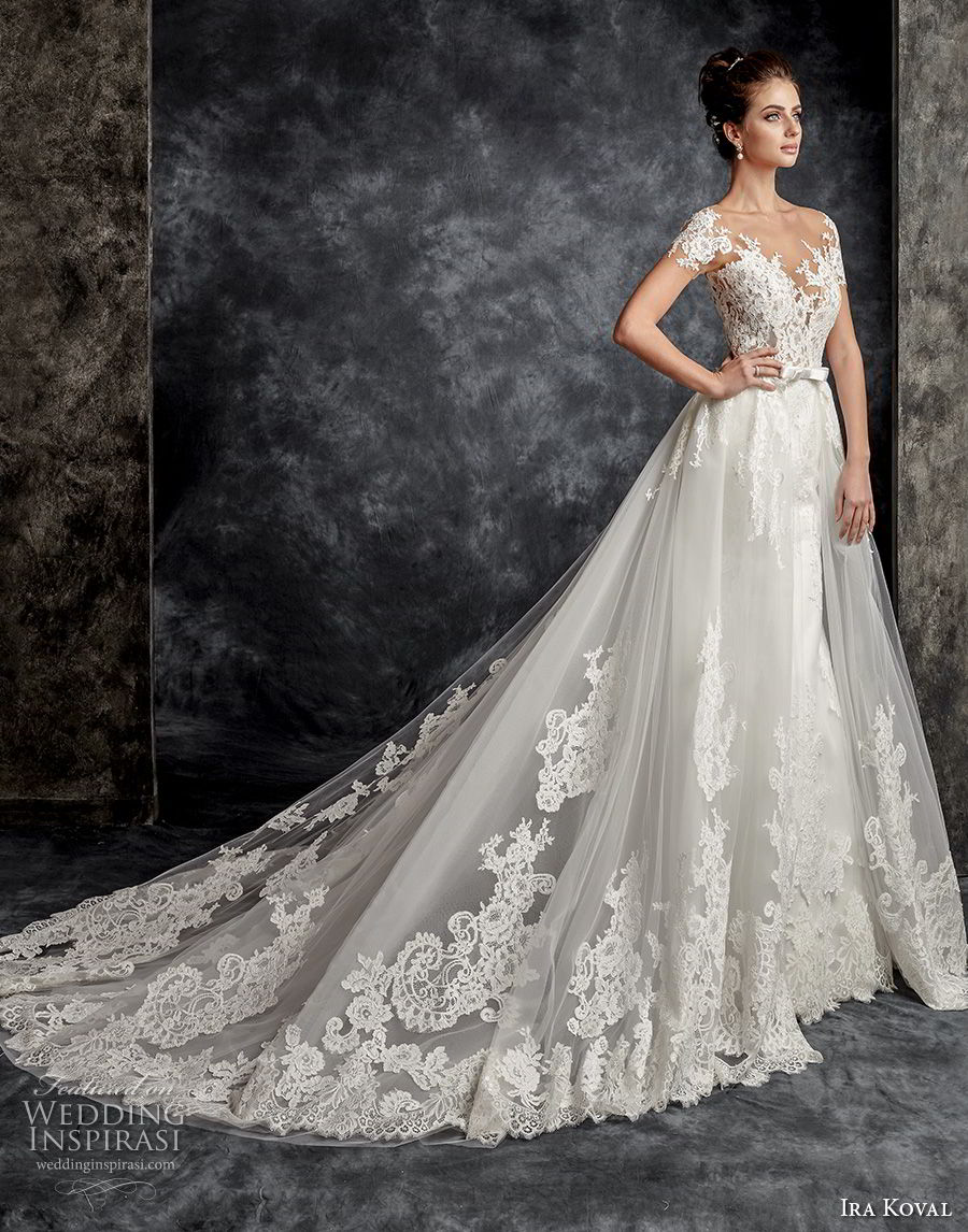 ira koval 2017 bridal short sleeves sweetheart neckline heavily embellished bodice romantic a line wedding dress sheer button back chapel train (601) mv