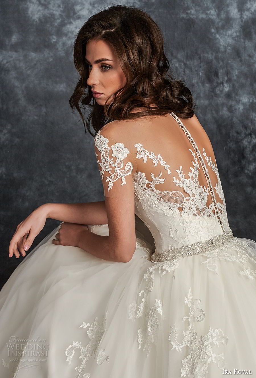 ira koval 2017 bridal short sleeves sweetheart neckline heavily embellished bodice romantic a line wedding dress sheer button back chapel train (605) zbv