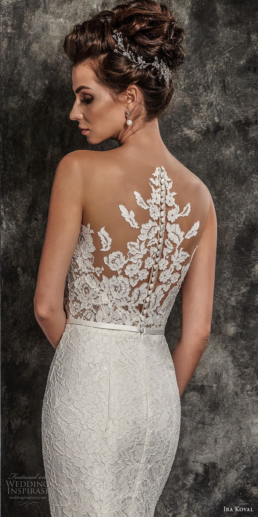 ira koval 2017 bridal sleeveless illusion bateau sweetheart neckline heavily embellished lace bodice elegant sheath fit and flare wedding dress rasor lace back sweep train (612) zbv
