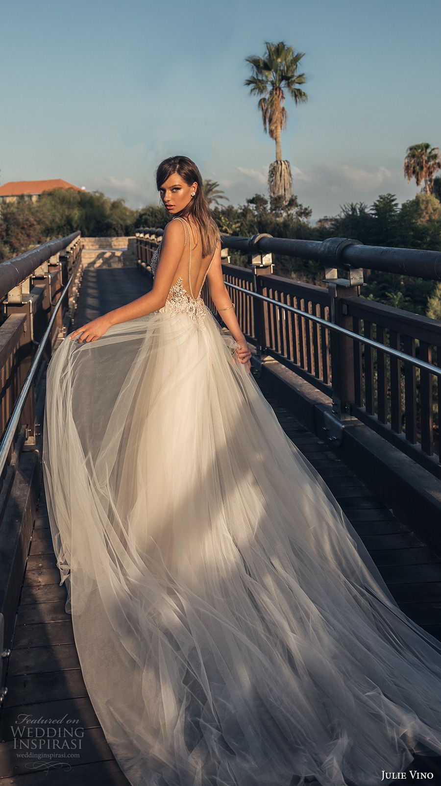 julie vino 2018 bridal sleeveless deep plunging v neck heavily embellished bodice tulle skirt romantic sexy a line wedding dress open back chapel train (60) bv