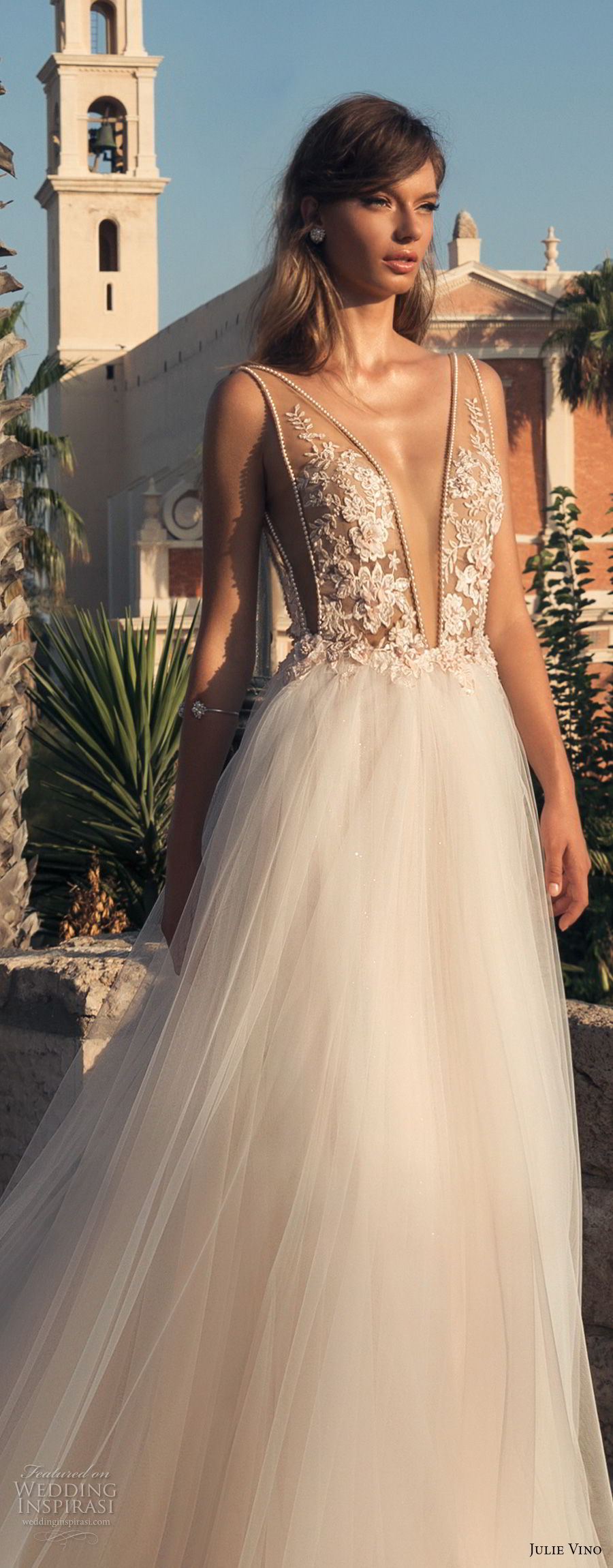 julie vino 2018 bridal sleeveless deep plunging v neck heavily embellished bodice tulle skirt romantic sexy a line wedding dress open back chapel train (60) lv