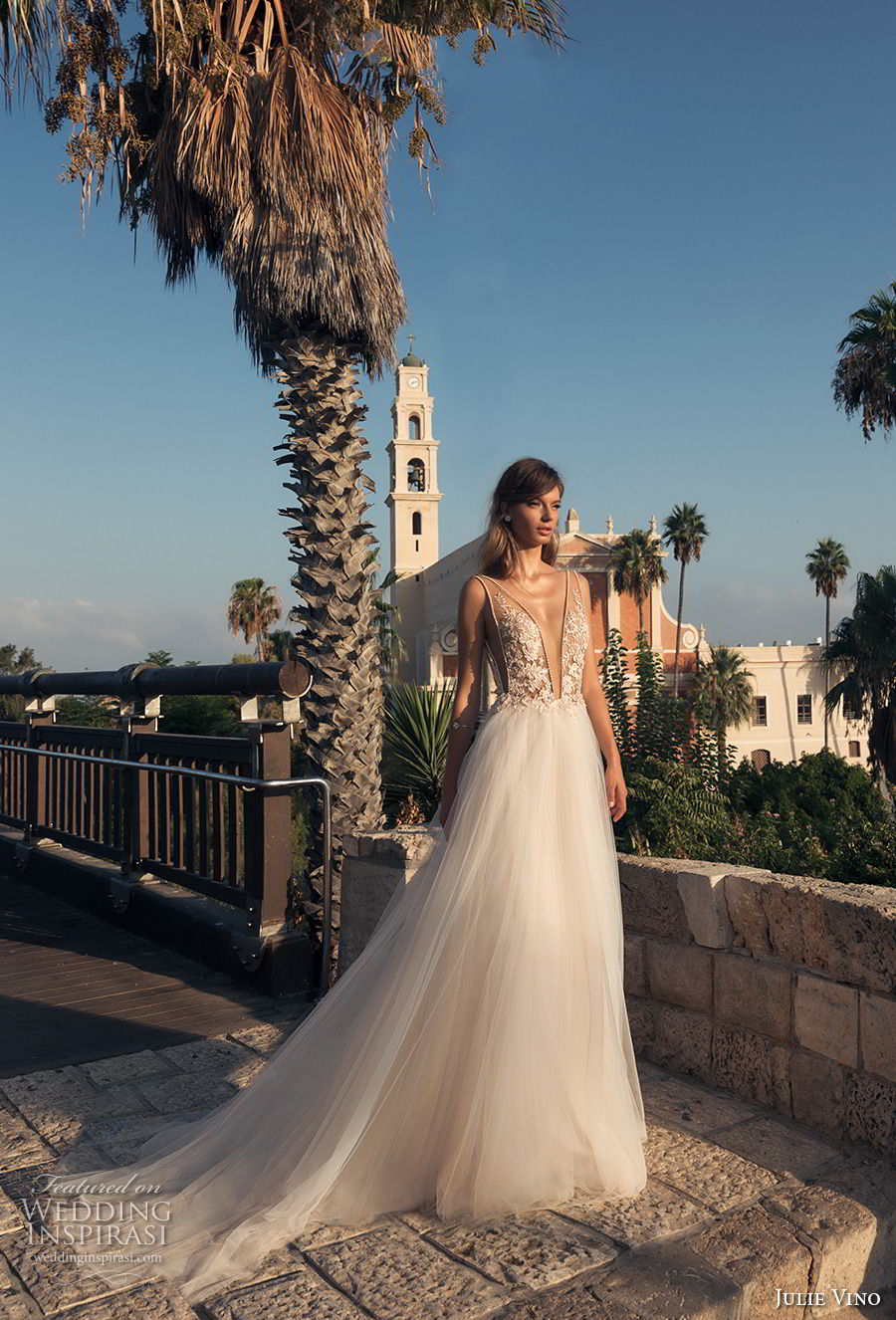 julie vino 2018 bridal sleeveless deep plunging v neck heavily embellished bodice tulle skirt romantic sexy a line wedding dress open back chapel train (60) mv