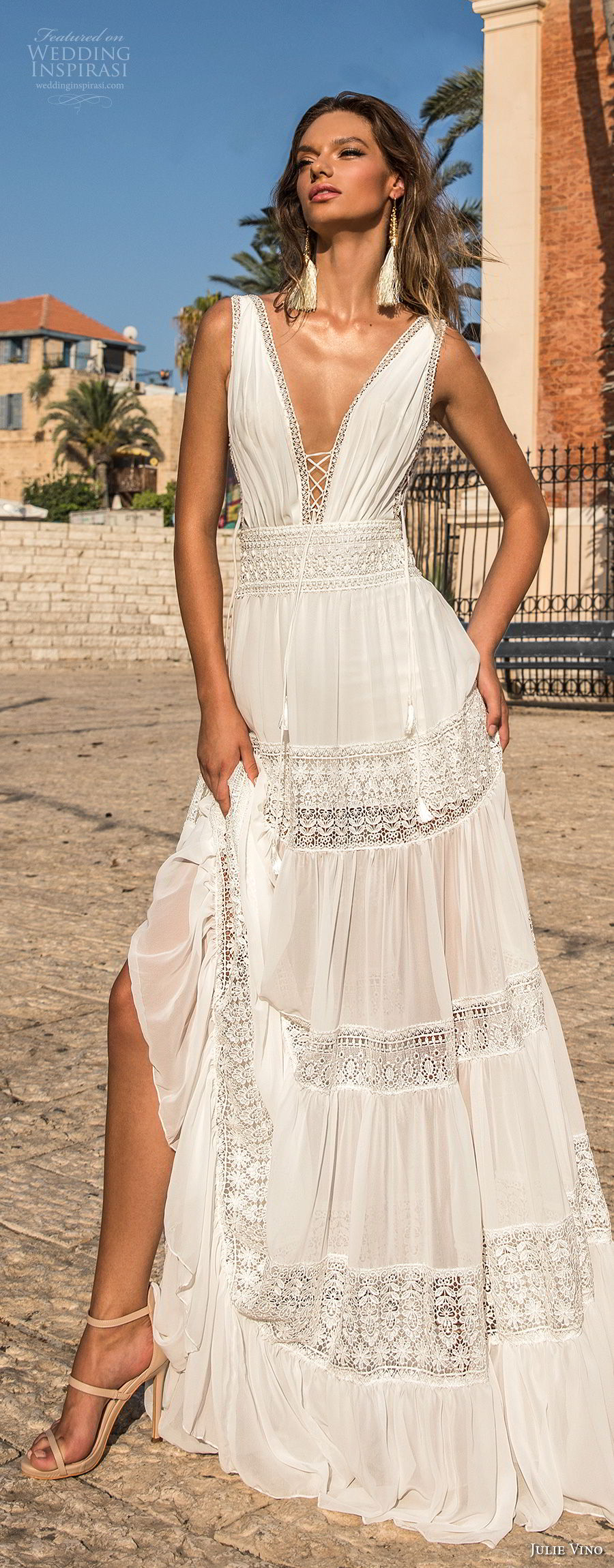 julie vino 2018 bridal sleeveless deep plunging v neck light lace embellishment sexy bohemian soft a  line wedding dress open v back sweep train (58) lv