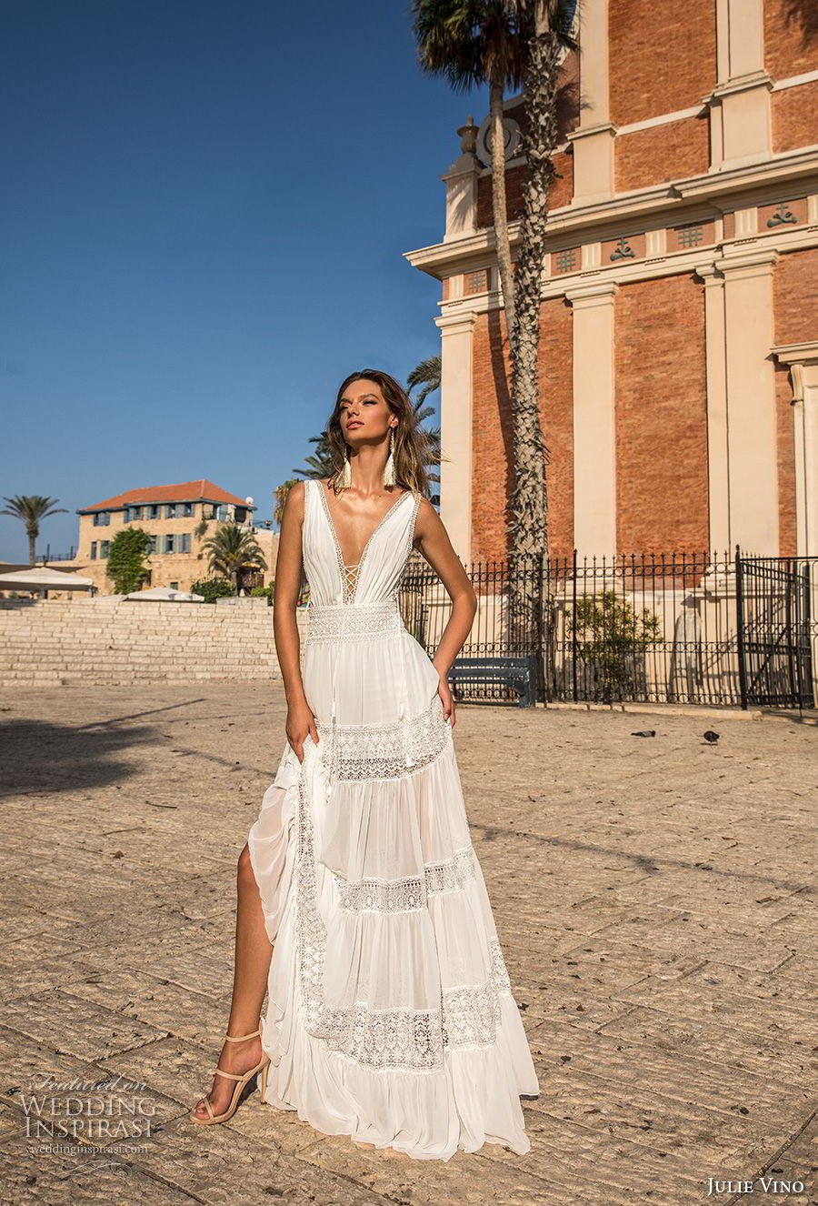 julie vino 2018 bridal sleeveless deep plunging v neck light lace embellishment sexy bohemian soft a line wedding dress open v back sweep train (58) mv