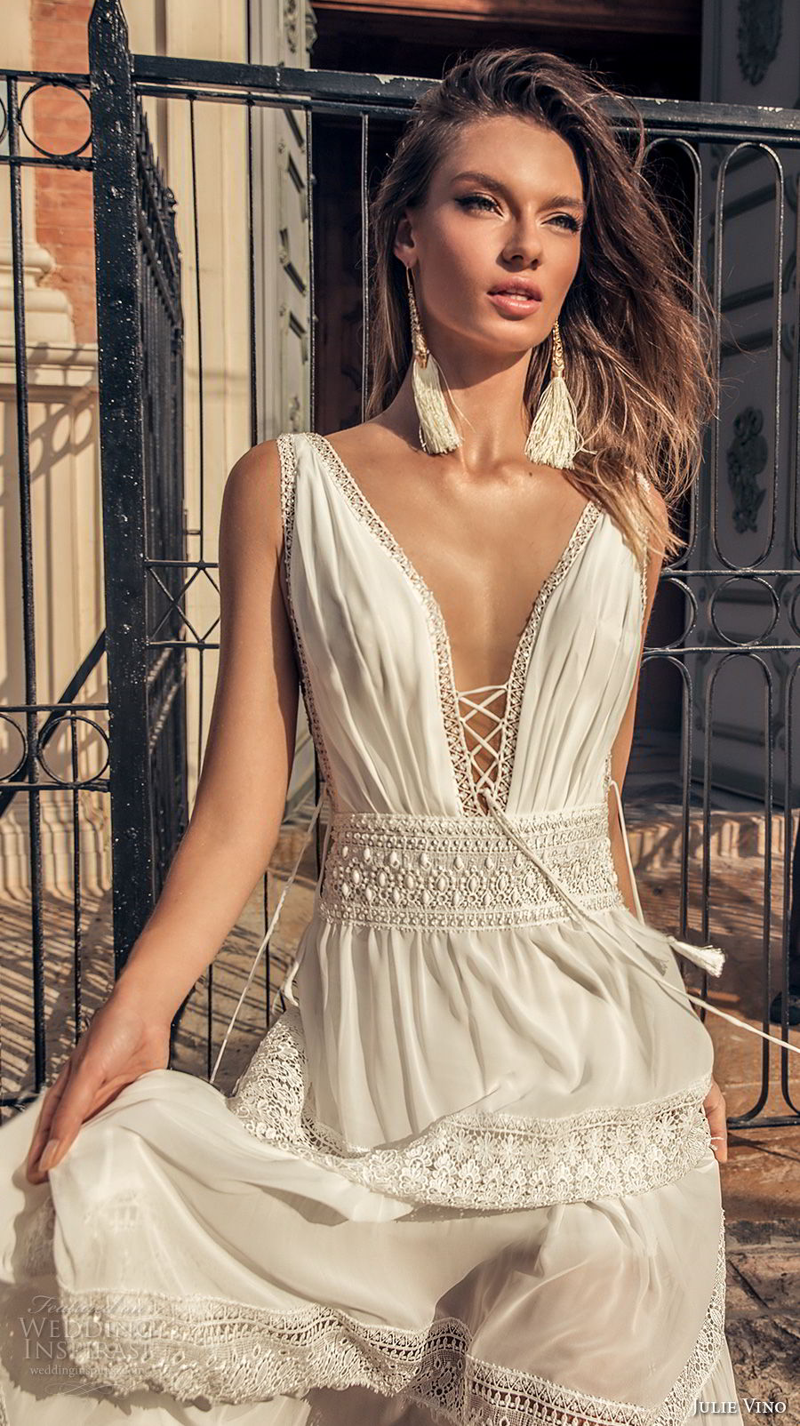 julie vino 2018 bridal sleeveless deep plunging v neck light lace embellishment sexy bohemian soft a  line wedding dress open v back sweep train (58) zv