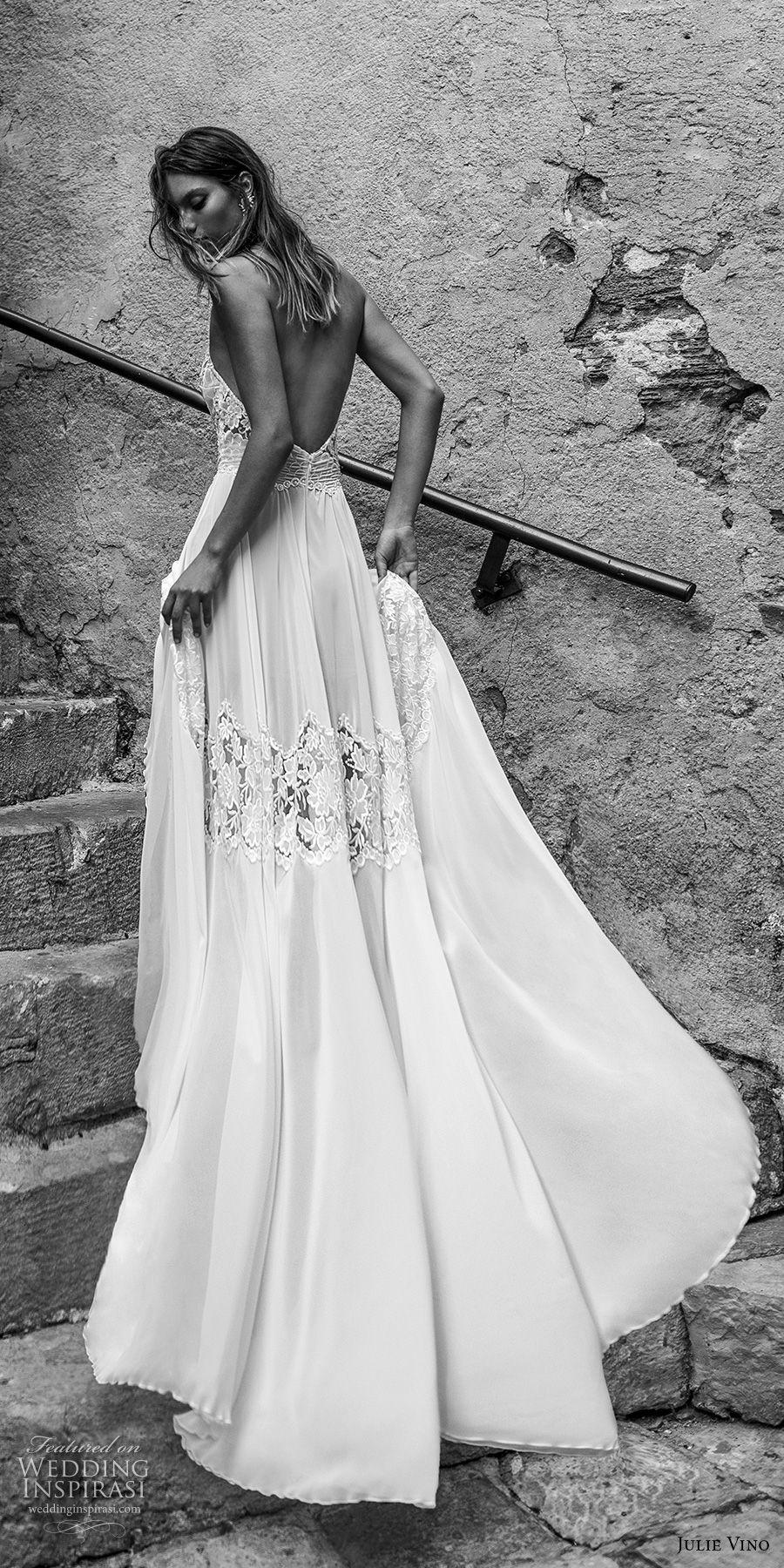 julie vino 2018 bridal sleeveless illusion halter sweetheart neck heavily embellished bodice roamtic soft a  line wedding dress open back chapel train (53) bv