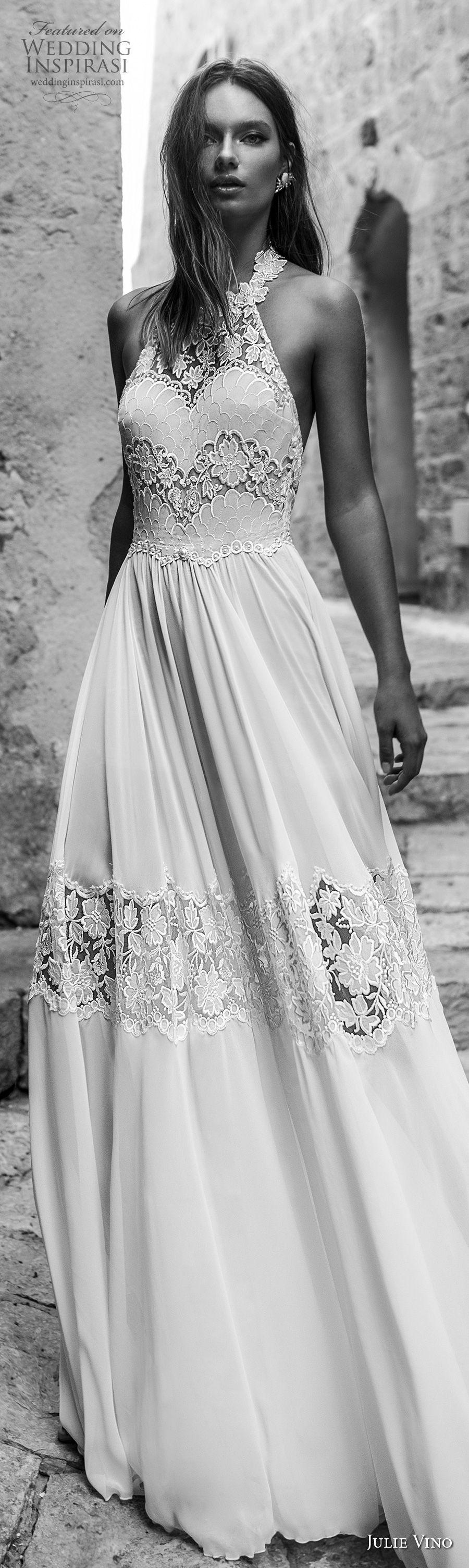 julie vino 2018 bridal sleeveless illusion halter sweetheart neck heavily embellished bodice roamtic soft a  line wedding dress open back chapel train (53) lv