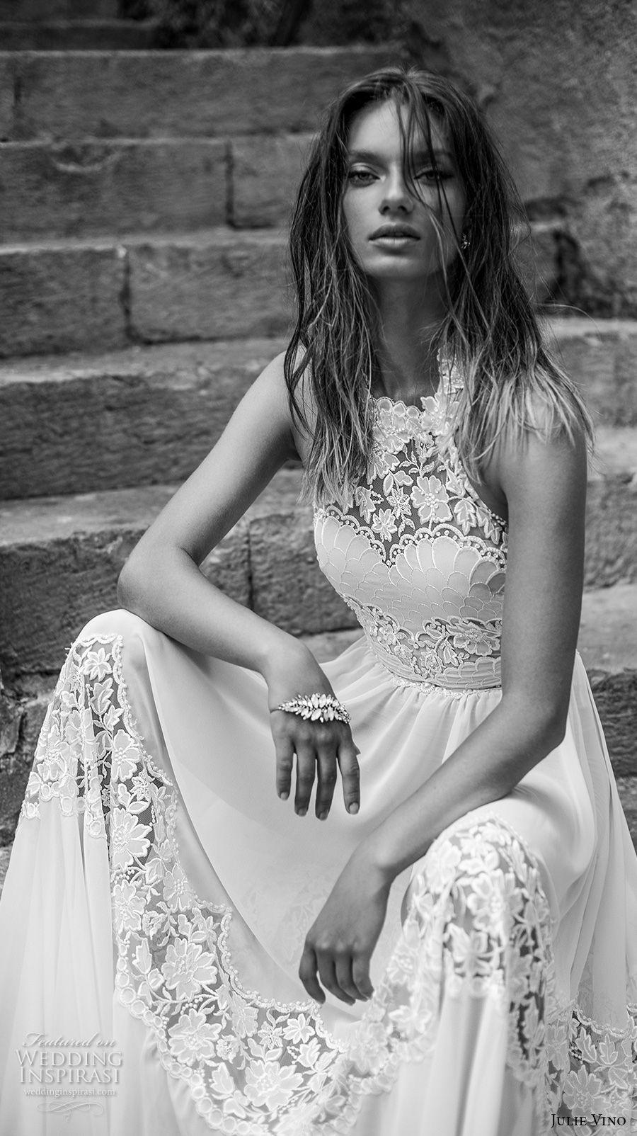 julie vino 2018 bridal sleeveless illusion halter sweetheart neck heavily embellished bodice roamtic soft a  line wedding dress open back chapel train (53) mv