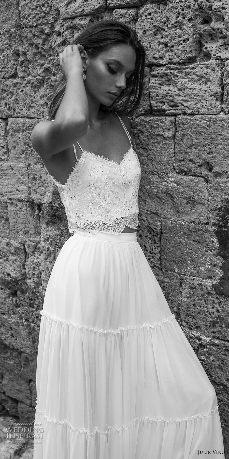 julie vino 2018 bridal spaghetti strap sweetheart neckline heavily embellished bodice 2 piece crop top bohemian soft a  line wedding dress sweep train  (55) zv