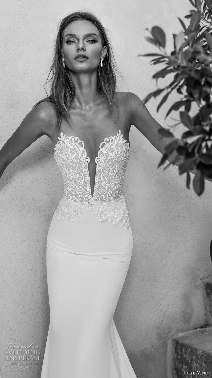 julie vino 2018 bridal strapless deep plunging sweetheart neckline heavily embellished bodice elegant sexy sheath wedding dress rasor lace back tail chapel train (54) mv