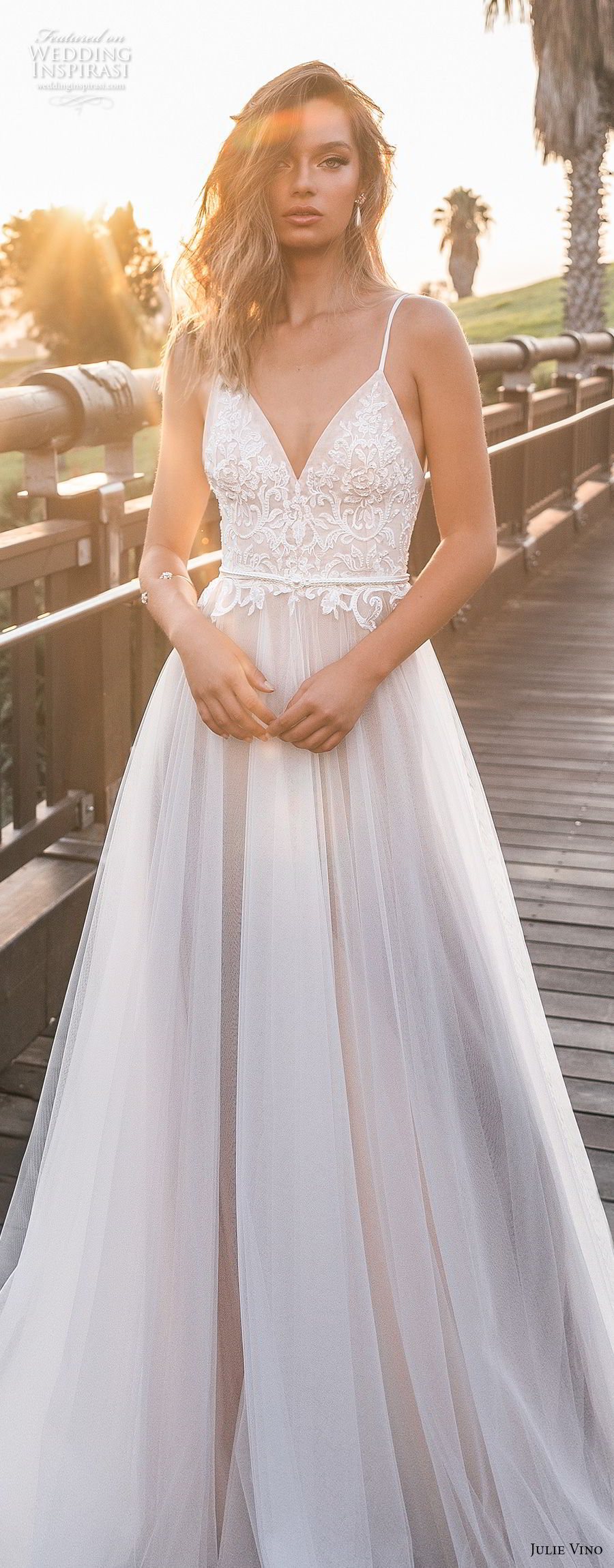 julie vino 2018 bridal thin strap spaghetti strap deep sweetheart neckline heavily embellished bodice romantic soft a line wedding dress open back royal train (61) lv