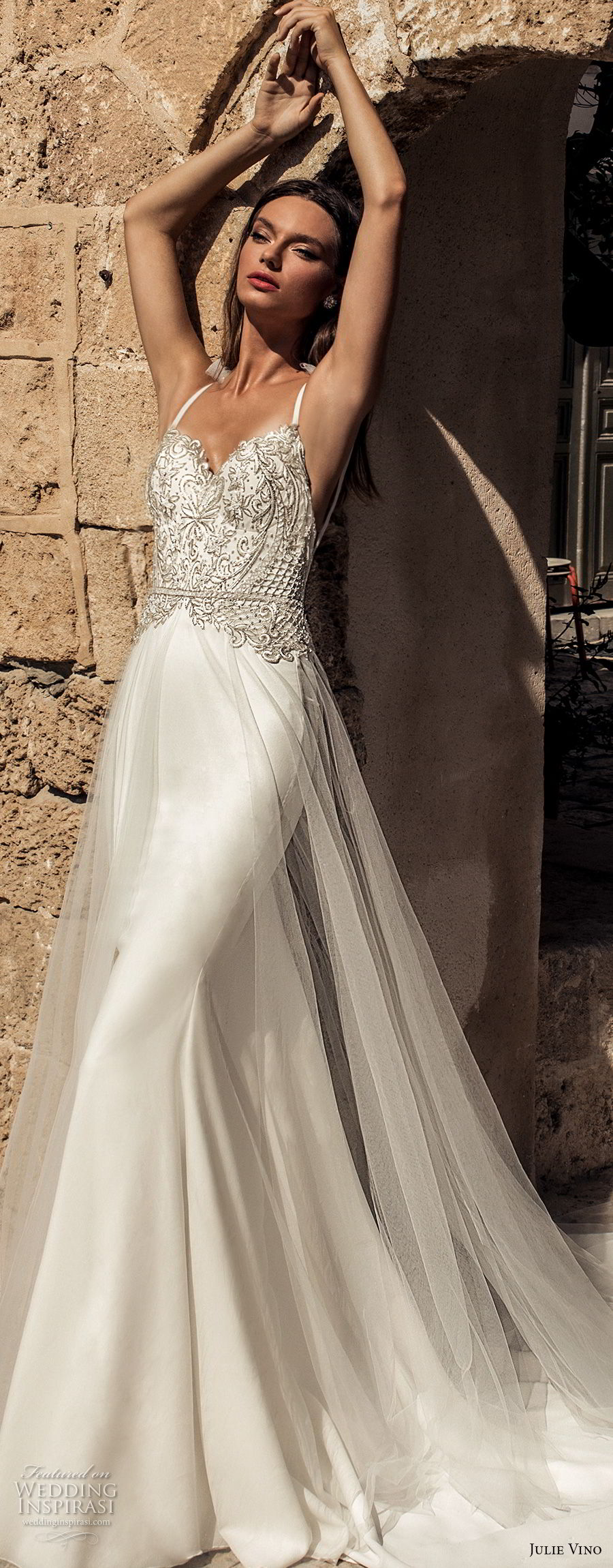 julie vino 2018 bridal thin strap sweetheart neckline heavily embellished bodice glamorous elegant sheath fit and flare wedding dress a  line overskirt open back chapel train (57) lv