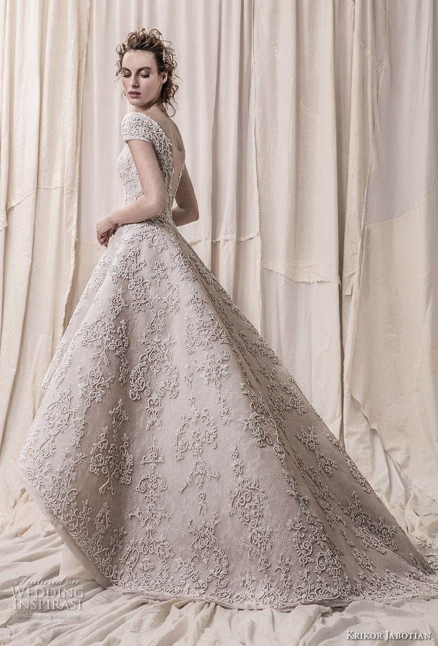 krikor jabotian spring 2018 bridal cap sleeves bateau neckline full embellishment princess glamorous high low a line wedding dress open v back chapel train (03) bv
