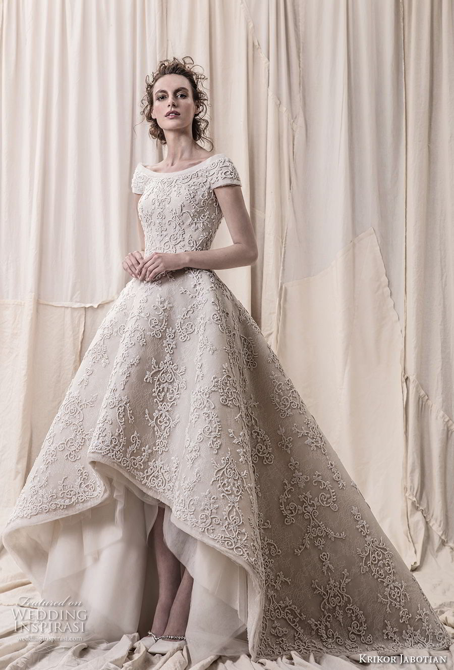 krikor jabotian spring 2018 bridal cap sleeves bateau neckline full embellishment princess glamorous high low a line wedding dress open v back chapel train (03) mv