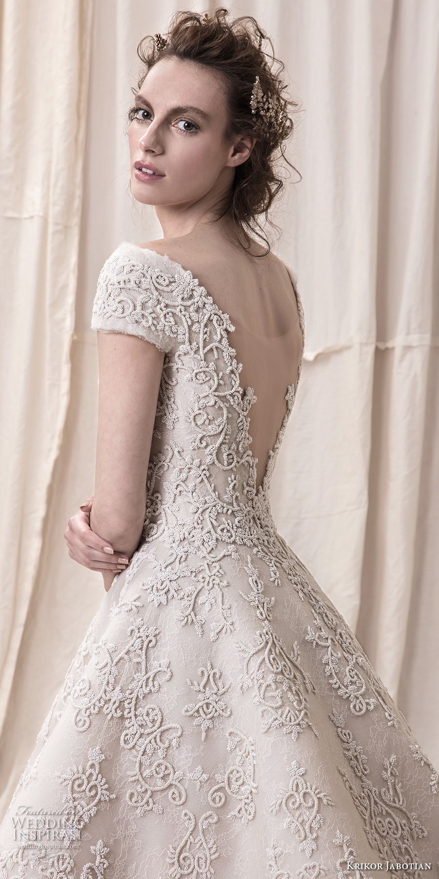 krikor jabotian spring 2018 bridal cap sleeves bateau neckline full embellishment princess glamorous high low a line wedding dress open v back chapel train (03) zbv