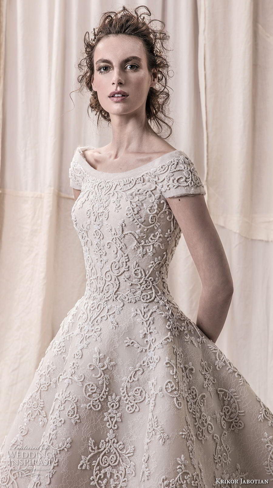 krikor jabotian spring 2018 bridal cap sleeves bateau neckline full embellishment princess glamorous high low a line wedding dress open v back chapel train (03) zv