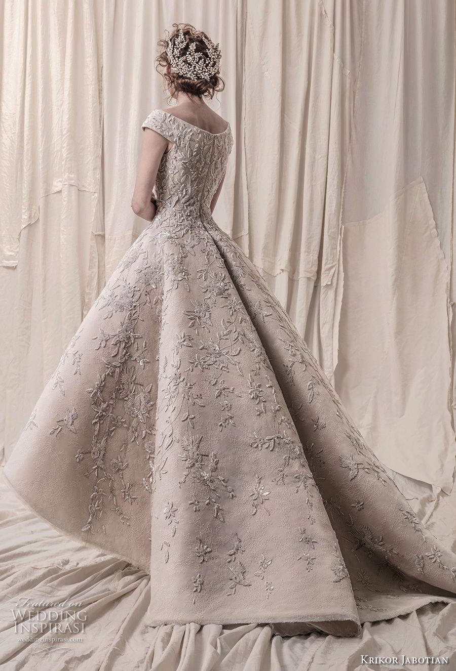 krikor jabotian spring 2018 bridal cap sleeves deep v neck heavily embellished bodice glamorous princess high low a  line wedding dress chapel train (01) bv
