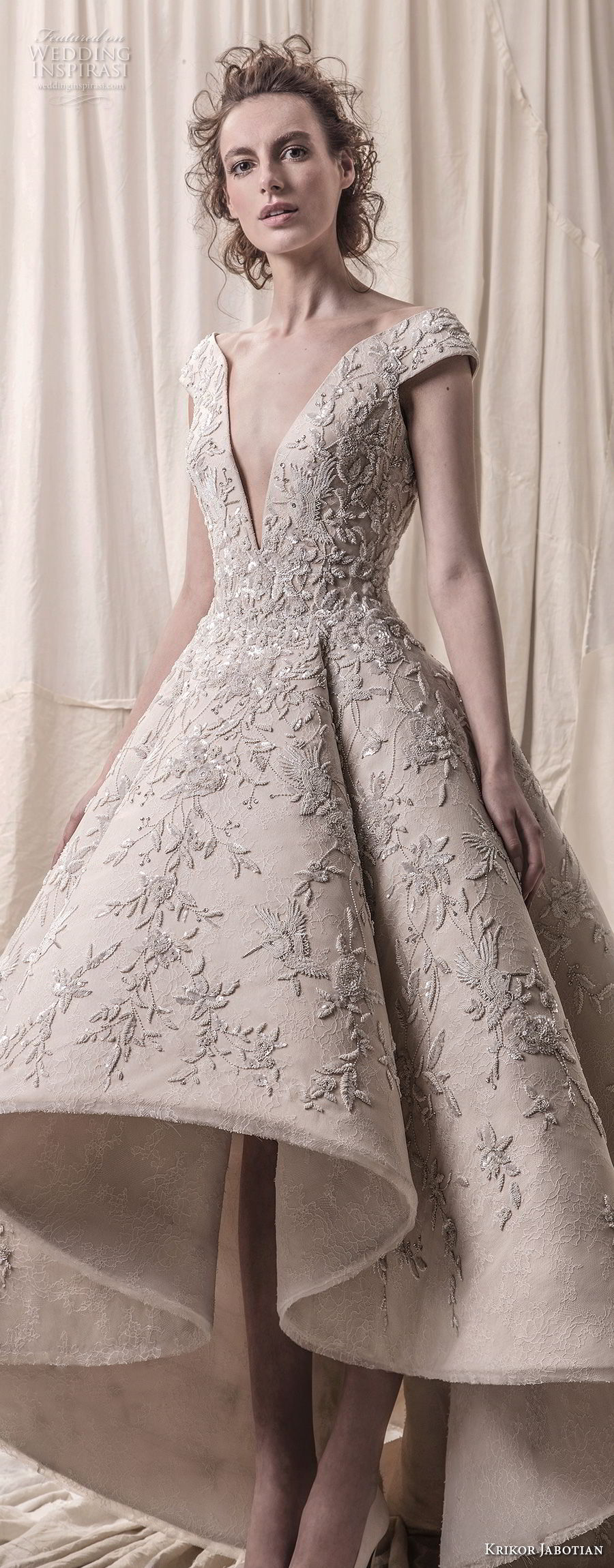 krikor jabotian spring 2018 bridal cap sleeves deep v neck heavily embellished bodice glamorous princess high low a  line wedding dress chapel train (01) lv