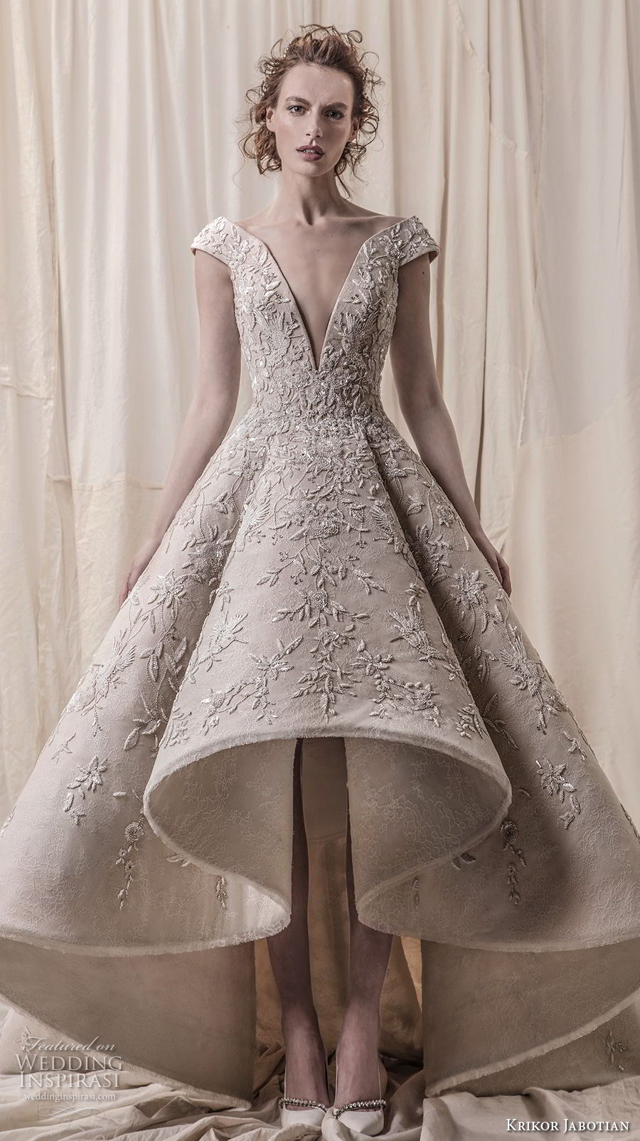krikor jabotian spring 2018 bridal cap sleeves deep v neck heavily embellished bodice glamorous princess high low a  line wedding dress chapel train (01) mv