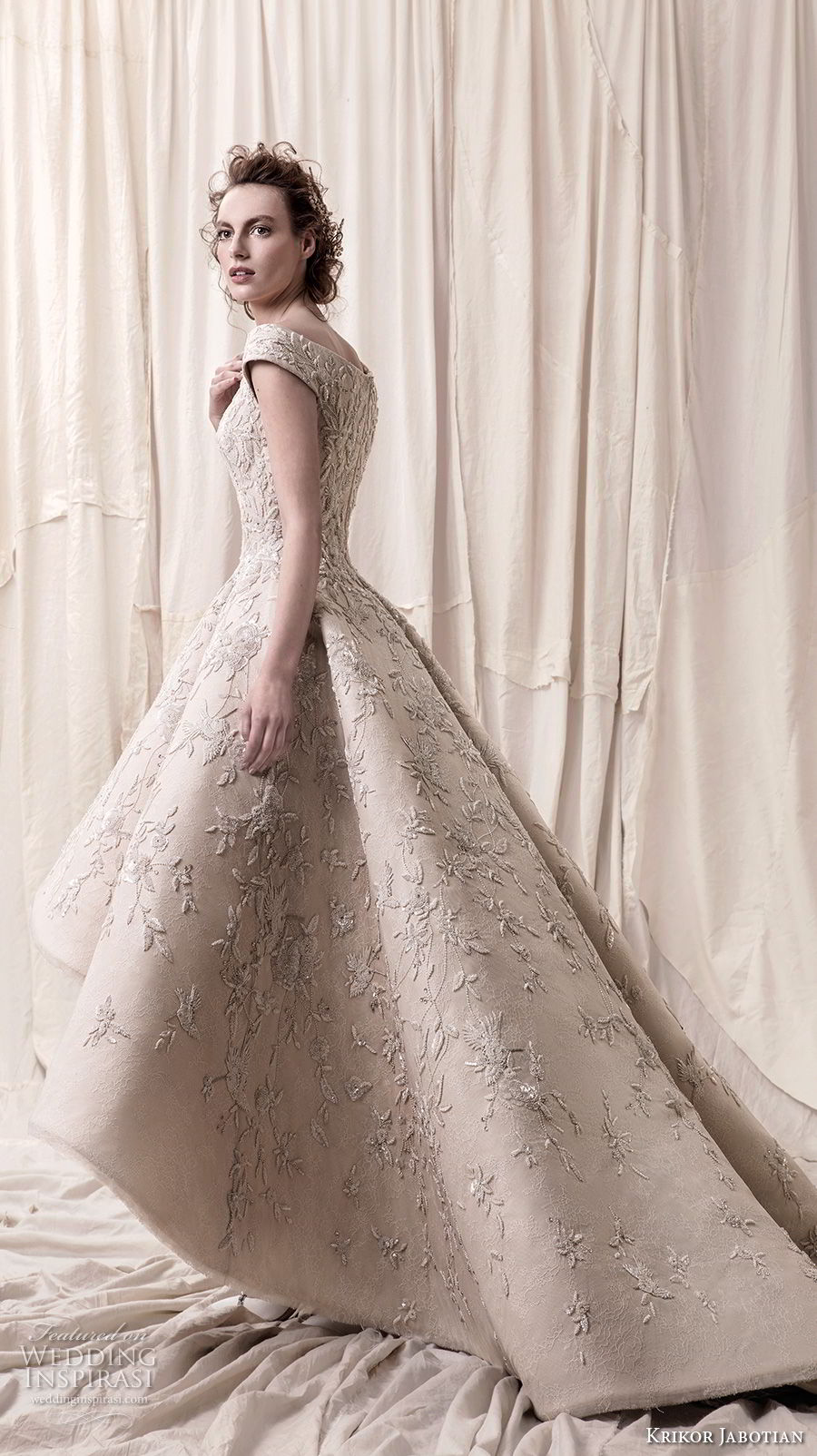 krikor jabotian spring 2018 bridal cap sleeves deep v neck heavily embellished bodice glamorous princess high low a  line wedding dress chapel train (01) sdv
