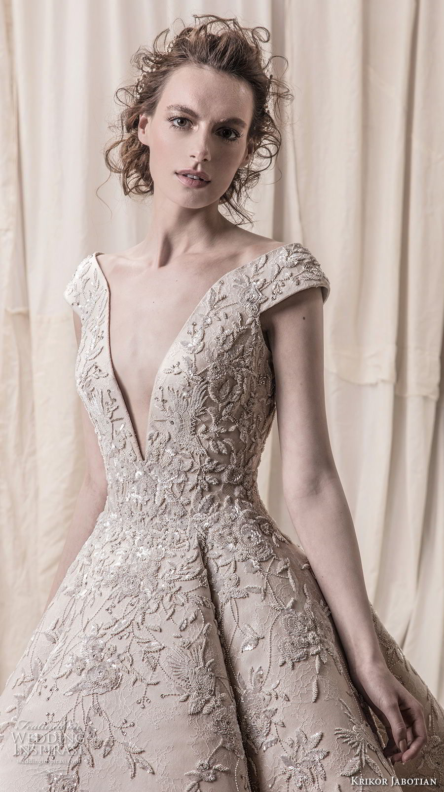 krikor jabotian spring 2018 bridal cap sleeves deep v neck heavily embellished bodice glamorous princess high low a line wedding dress chapel train (01) zv