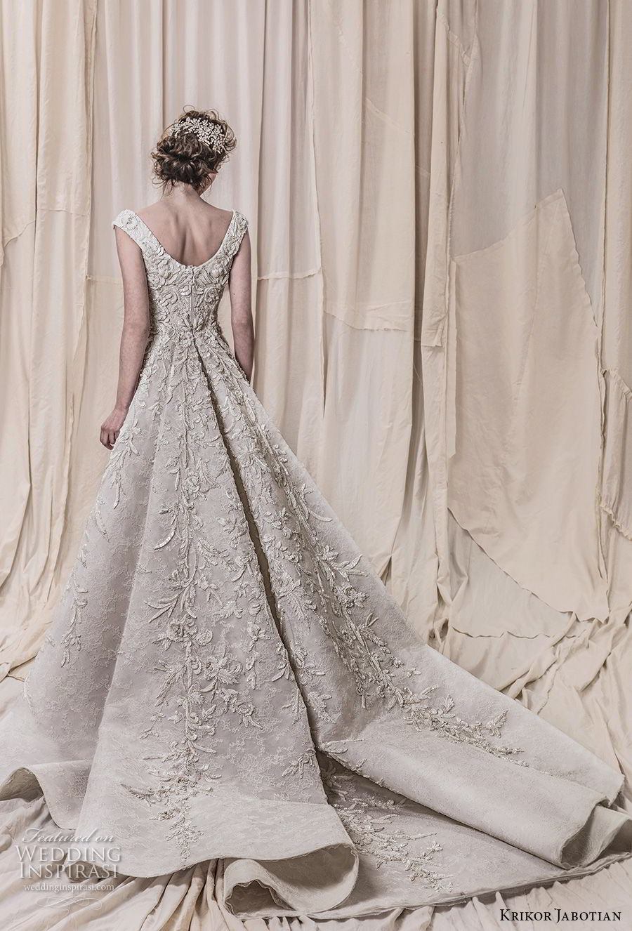 krikor jabotian spring 2018 bridal cap sleeves scoop neckline full embellishment elegant glamorous sheath wedding dress a  line overskirt chapel train (10) bv