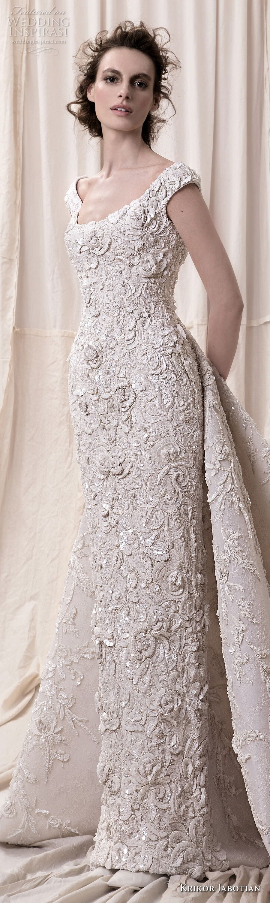 krikor jabotian spring 2018 bridal cap sleeves scoop neckline full embellishment elegant glamorous sheath wedding dress a line overskirt chapel train (10) lv