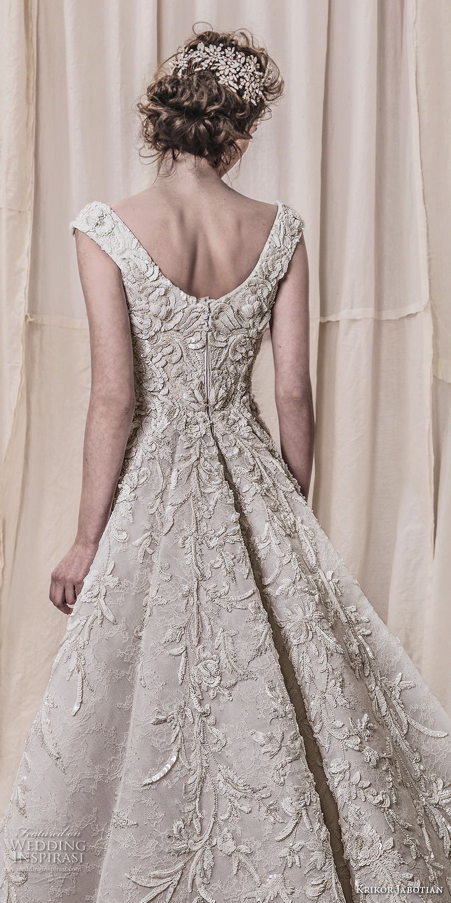 krikor jabotian spring 2018 bridal cap sleeves scoop neckline full embellishment elegant glamorous sheath wedding dress a  line overskirt chapel train (10) zbv