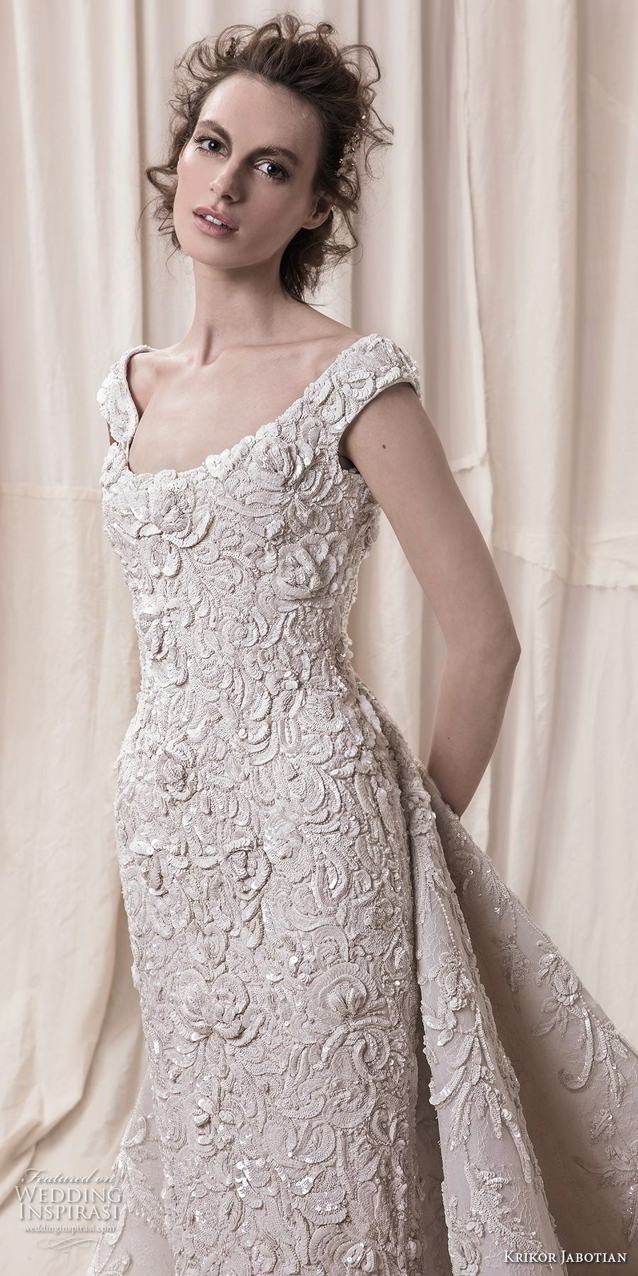 krikor jabotian spring 2018 bridal cap sleeves scoop neckline full embellishment elegant glamorous sheath wedding dress a  line overskirt chapel train (10) zv