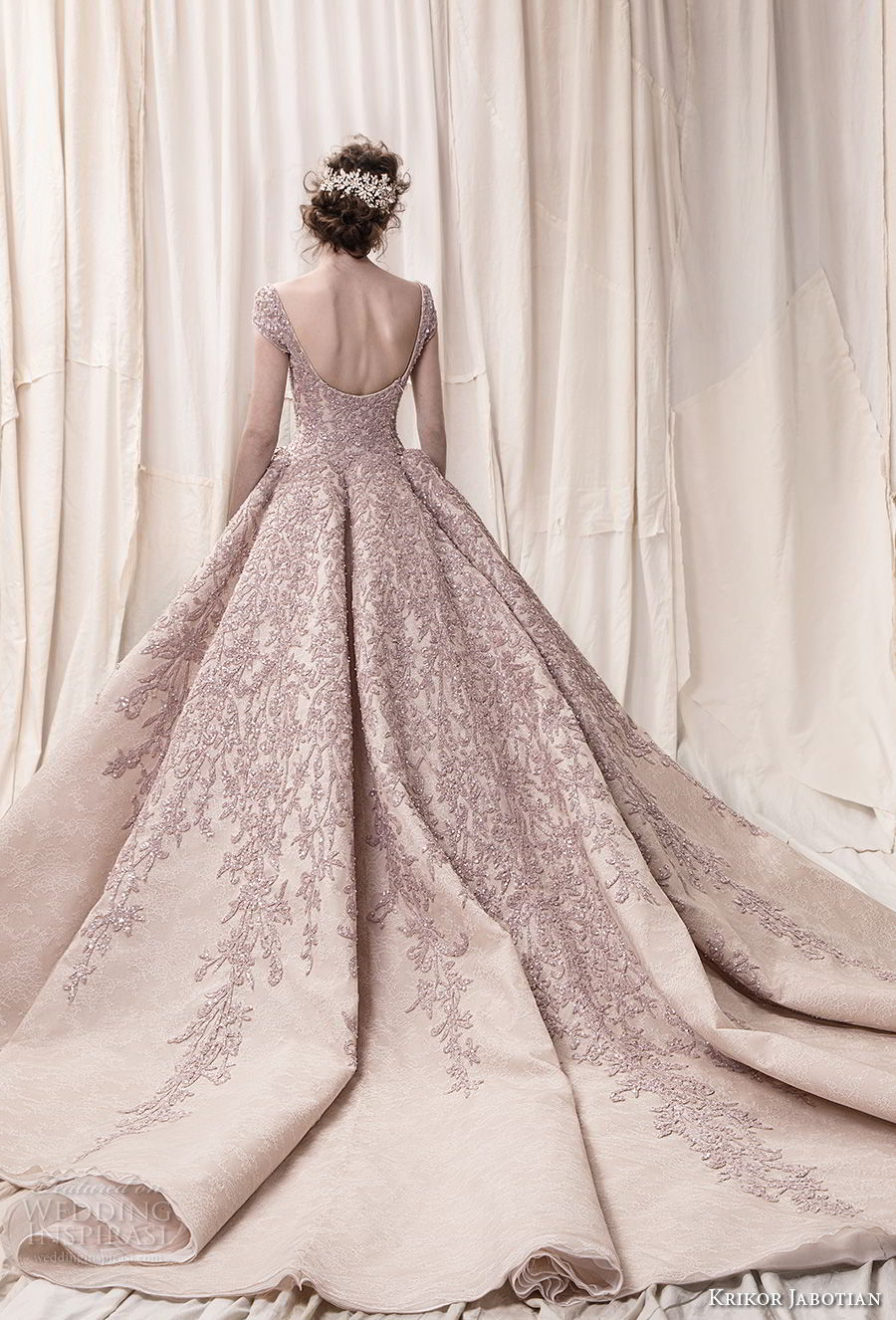krikor jabotian spring 2018 bridal cap sleeves scoop neckline heavily embeliished blush color glamorous princess ball gown a  line wedding dress open scoop back royal train (08) bv