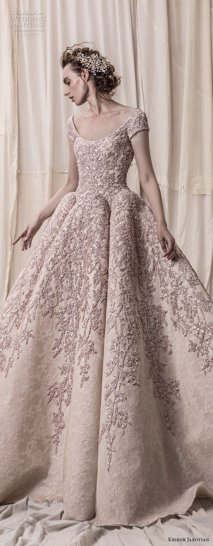krikor jabotian spring 2018 bridal cap sleeves scoop neckline heavily embeliished blush color glamorous princess ball gown a line wedding dress open scoop back royal train (08) lv