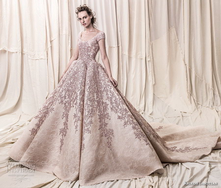 krikor jabotian spring 2018 bridal cap sleeves scoop neckline heavily embeliished blush color glamorous princess ball gown a  line wedding dress open scoop back royal train (08) mv