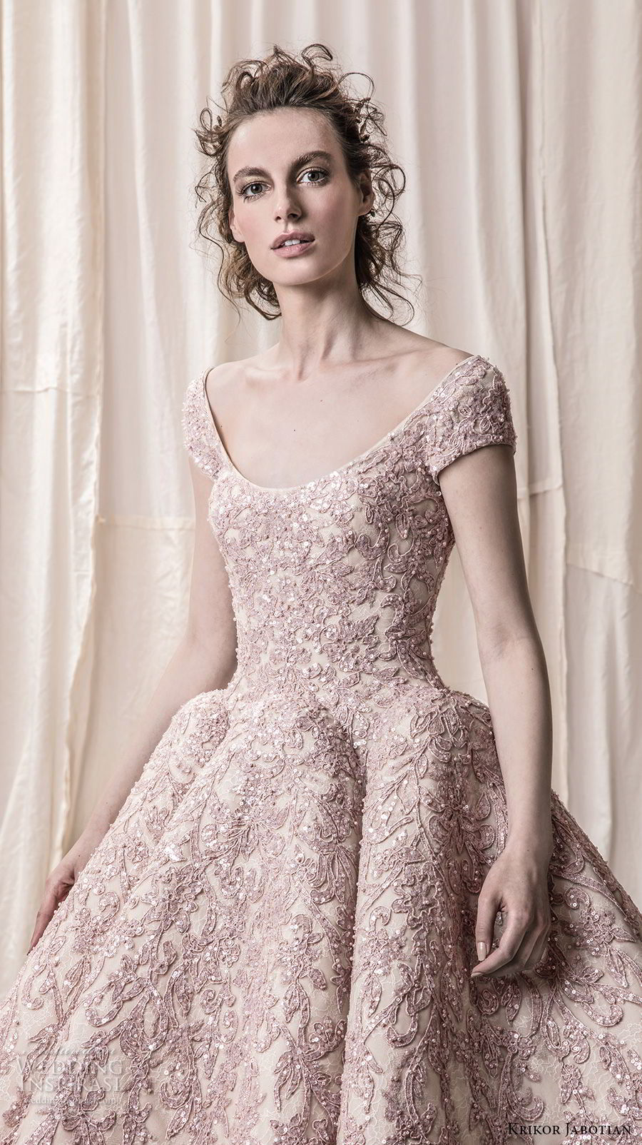krikor jabotian spring 2018 bridal cap sleeves scoop neckline heavily embeliished blush color glamorous princess ball gown a  line wedding dress open scoop back royal train (08) zv