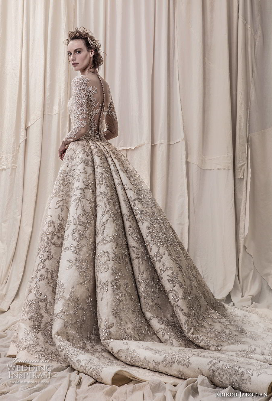 krikor jabotian spring 2018 bridal long sleeves scoop neck full embellishment glamorous princess ball gown a  line wedding dress sheer button back royal train (04) bv