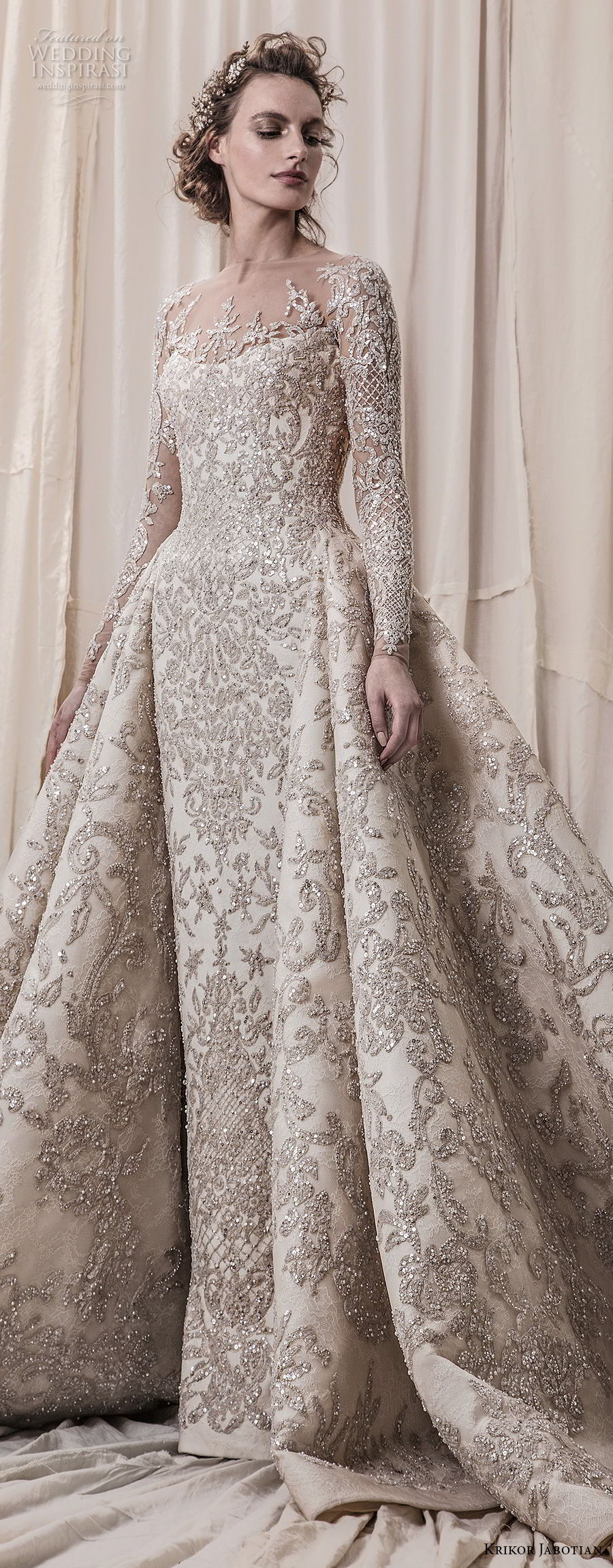 krikor jabotian spring 2018 bridal long sleeves scoop neck full embellishment glamorous princess ball gown a line wedding dress sheer button back royal train (04) lv