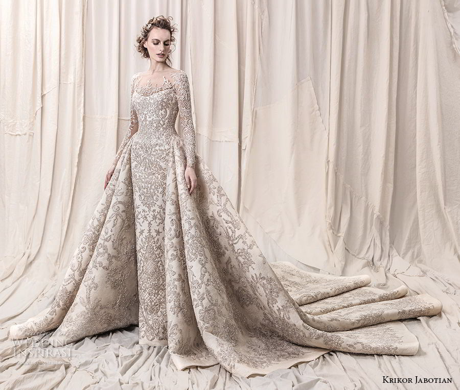 krikor jabotian spring 2018 bridal long sleeves scoop neck full embellishment glamorous princess ball gown a  line wedding dress sheer button back royal train (04) mv