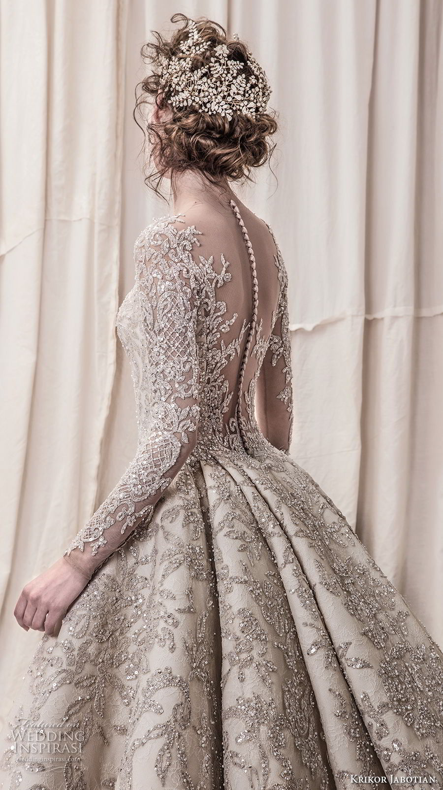 krikor jabotian spring 2018 bridal long sleeves scoop neck full embellishment glamorous princess ball gown a line wedding dress sheer button back royal train (04) zbv