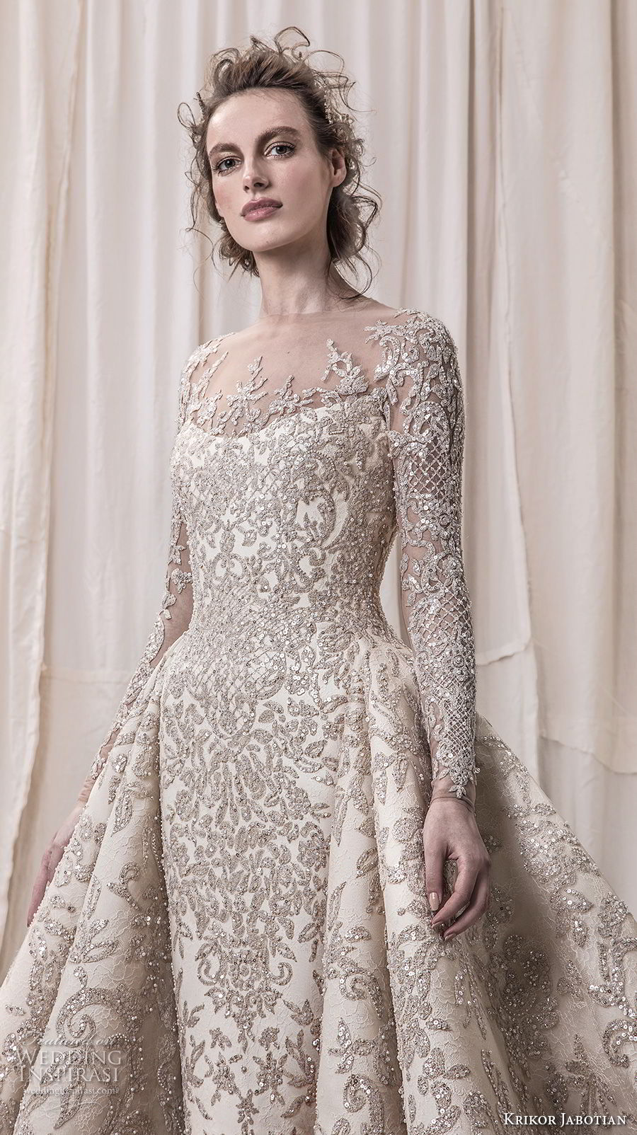 krikor jabotian spring 2018 bridal long sleeves scoop neck full embellishment glamorous princess ball gown a line wedding dress sheer button back royal train (04) zv