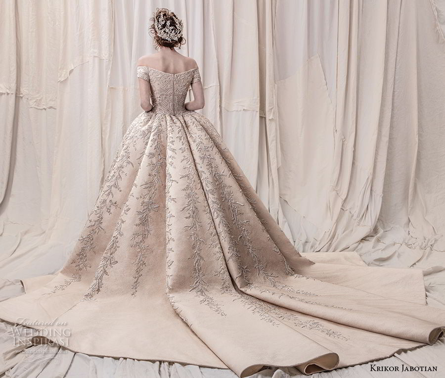 krikor jabotian spring 2018 bridal off the shoulder straight across neck full embellishment champagne gold princess ball gown a line wedding dress royal train (06) bv