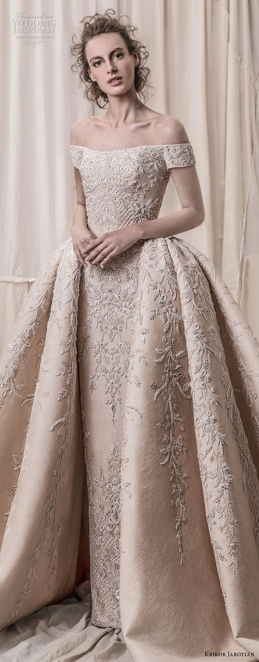 krikor jabotian spring 2018 bridal off the shoulder straight across neck full embellishment champagne gold princess ball gown a line wedding dress royal train (06) lv