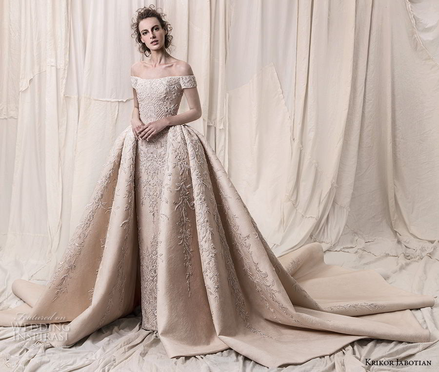 krikor jabotian spring 2018 bridal off the shoulder straight across neck full embellishment champagne gold princess ball gown a line wedding dress royal train (06) mv