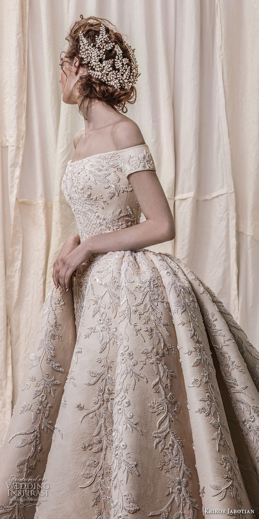 krikor jabotian spring 2018 bridal off the shoulder straight across neck full embellishment champagne gold princess ball gown a  line wedding dress royal train (06) sdv