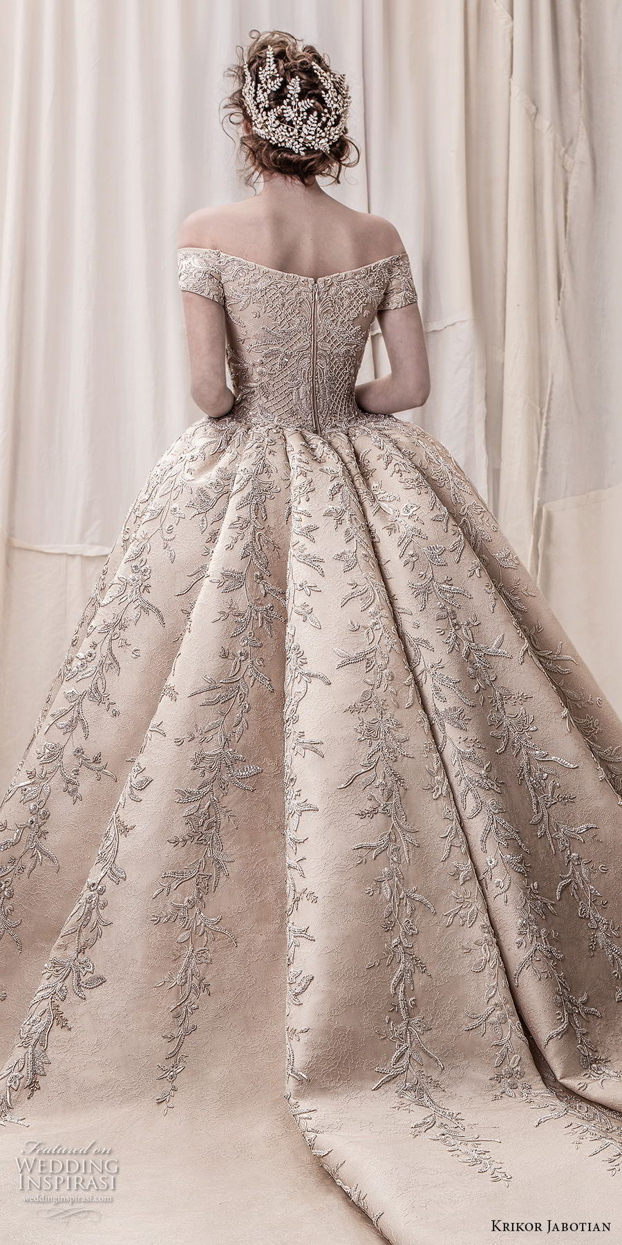 krikor jabotian spring 2018 bridal off the shoulder straight across neck full embellishment champagne gold princess ball gown a line wedding dress royal train (06) zbv