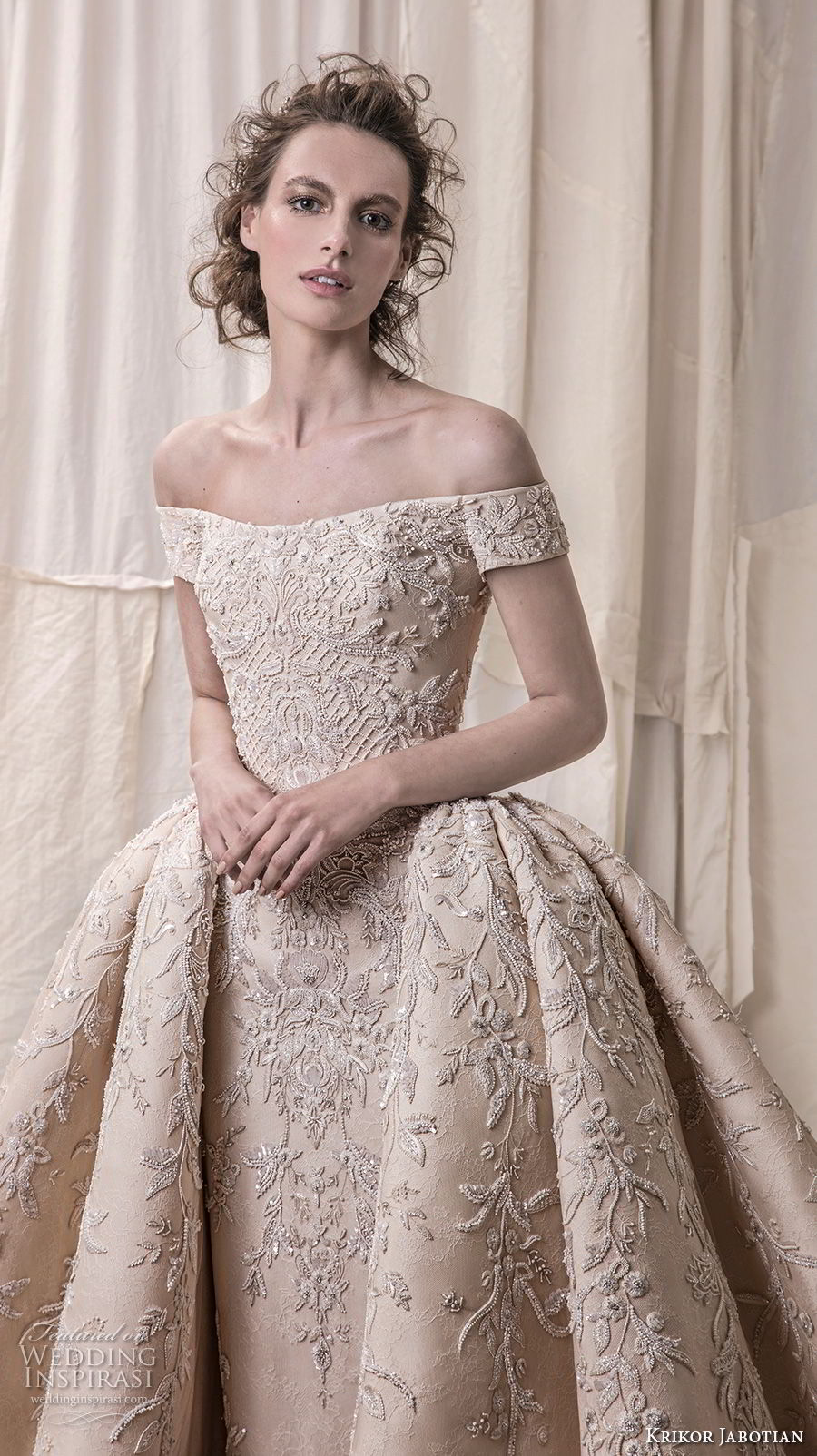 krikor jabotian spring 2018 bridal off the shoulder straight across neck full embellishment champagne gold princess ball gown a line wedding dress royal train (06) zv