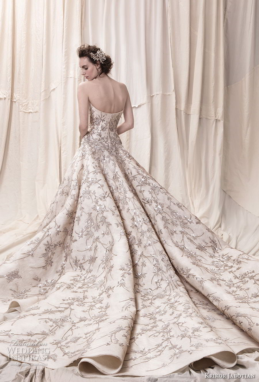 krikor jabotian spring 2018 bridal strapless straight across neckline full embellishment champagne color princess ball gown a line wedding dress royal train (07) bv